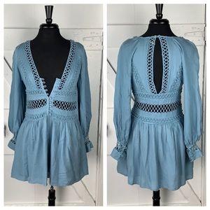 Free People Lace Cutout Mini Dress